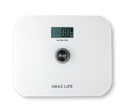 SMAZ LIFE Báscula de baño digital Battery free precisión cuerpo personal escala con Extra Slim cristal