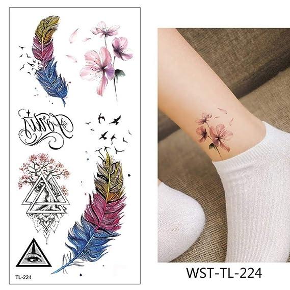 adgkitb 4pcs Tatuaje Pegatina Flores Impermeable WST-TL-224 9x19cm ...
