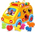 REMOKING Baby Electronic Musical Bus Toys with Lights & Music,Shape Color Sorter,Rotating Gear,Early Development, Learning Toys,Educational Preschool  Girls Boys Toddlers Kids