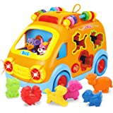 REMOKING Baby Electronic Musical Bus Toys with Lights & Music,Shape Color Sorter,Rotating Gear,Early Development…