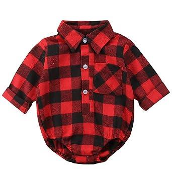 65f5756a4 Mialoley Infant Baby Girl Boy Red Plaid Romper Long Sleeve Shirt Bodysuit  Button Down Blouse Autumn