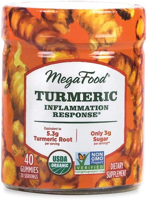 MegaFood, Certified Organic Turmeric Spice Gummies, Soft Chew Supplement to Support Healthy Inflammation Vegan, 40 Gummies (20 Servings)
