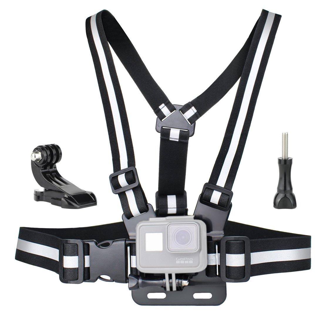 soonsunチェストマウントハーネスfor GoPro Hero 6、5、4、セッション、3 +、3、2、1カメラ – 完全に調整可能な胸ストラップベルト高反射ベスト、Includes Jフックバックルと親指ねじ   B077QLWLM1