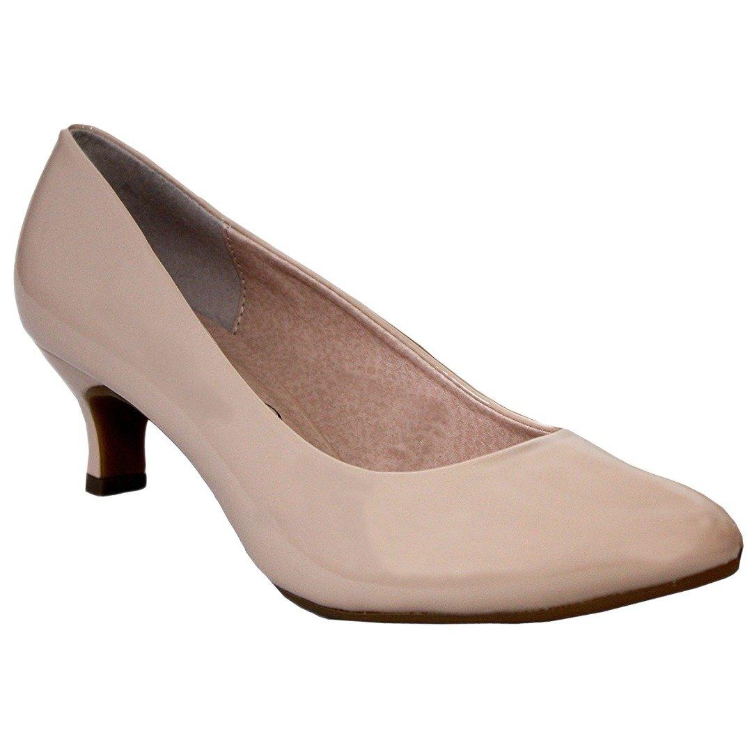 Comfort Plus® - Scarpa da donna con tacco a cono medio, suole flessibili, pianta larga, casual formale per il lavoro e in ufficio, facili e comode da indossare  Black / Nude
