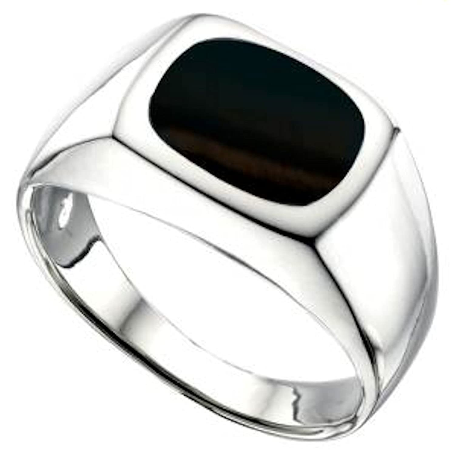 MENS BLACK ONYX SIGNET RING You choose size O up to Z2 Amazon