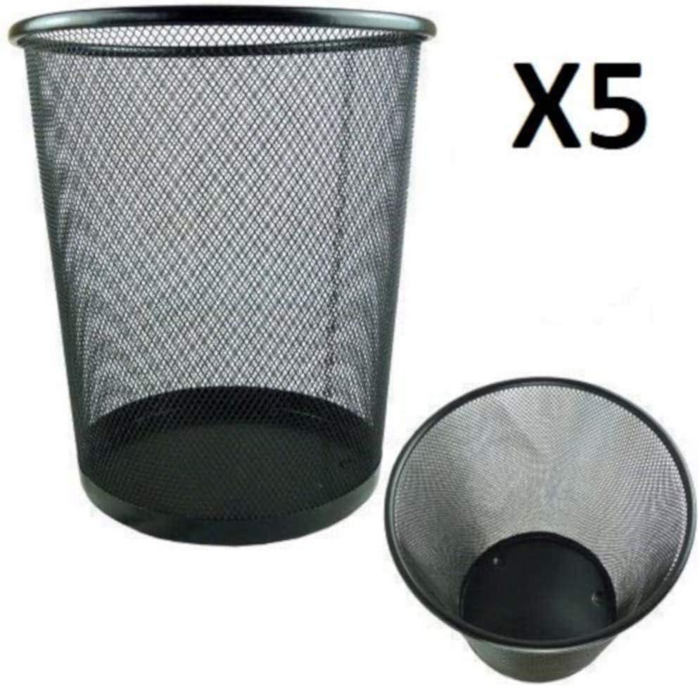 Papelera Circular de Rejilla met/álica Pack de 5 Unidades 19 L 35 x 29,5 cm EUROXANTY/® Papeleras de Oficina Papelera Negra
