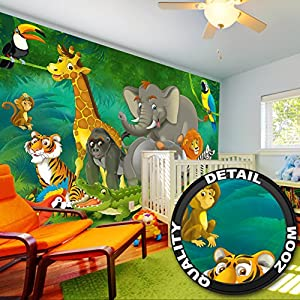 Jungle animals photo wall paper jungle and for Decor mural xxl