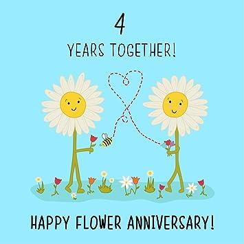 4th Wedding Anniversary Card Flower Anniversary Amazoncouk