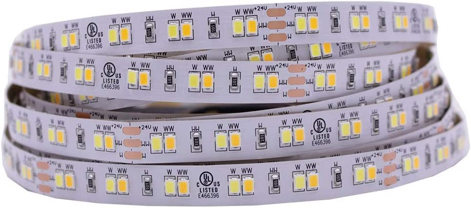 HKHJN 3528 2835 CW/WW bis - Termostato CCT 12 V 24 V Color Blanco Tira Flexible de LED 120 Leds/m Iluminado 8-10 mm no Impermeable al Agua, aleación, Blanco, 24V 10mm PCB