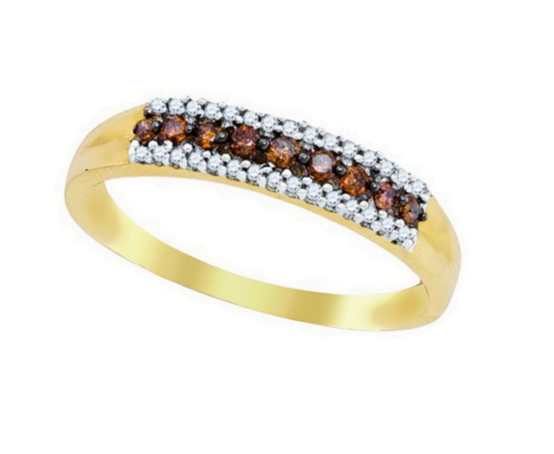10K Yellow Gold Brandy Diamond Chocolate Brown Vibrant Eternity Band Ring 1/5 Ctw.