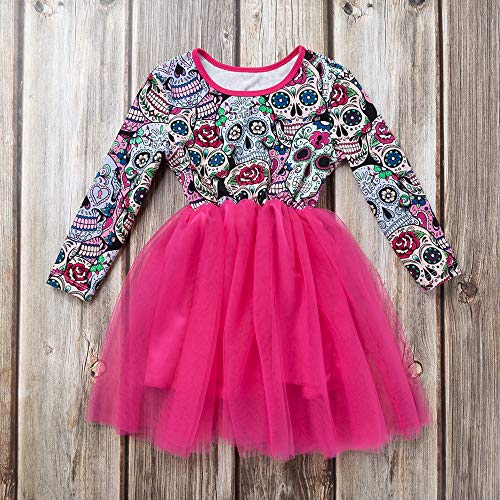 MOKO-PP Newborn Baby Girls Long Sleeve Halloween Cartoon Skull Princess Dress Clothes(hot,80)