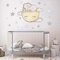 RUIRUI Cartoon Olifant Sterren Muurstickers Voor Kinderkamer Baby Kinderkamer Decoratie Muurstickers Wolk Maan Sterren…