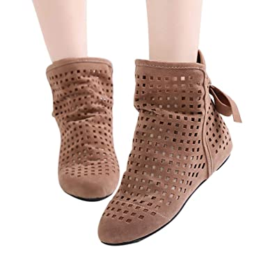 b77ab5a1114 Discount Boots Cutout Ankle Boots - OverDose Women Boots Flat Low Hidden  Wedges Cutout Ankle Boots Casual Shoes Cute Booties