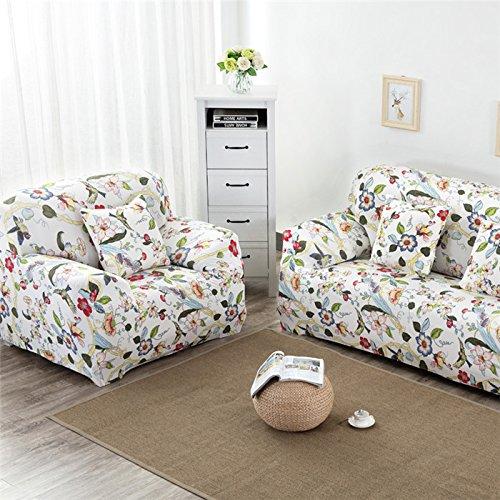 RUGAI-UE Sofa Slipcover sofa full cover sofa cover full sofa cushion sofa cloth covers four non slip,Four seater 235-310cm,Birds' twitter fragrance flowers