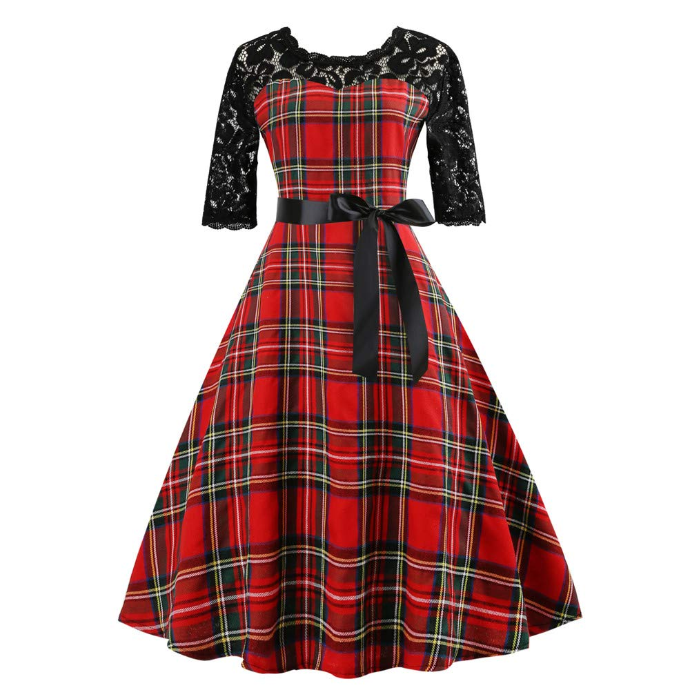 HEFEITONG Women Vintage HalfSleeveg Plaid Lace Patchwork Evening Party Dress KIEKKKO993 15.86