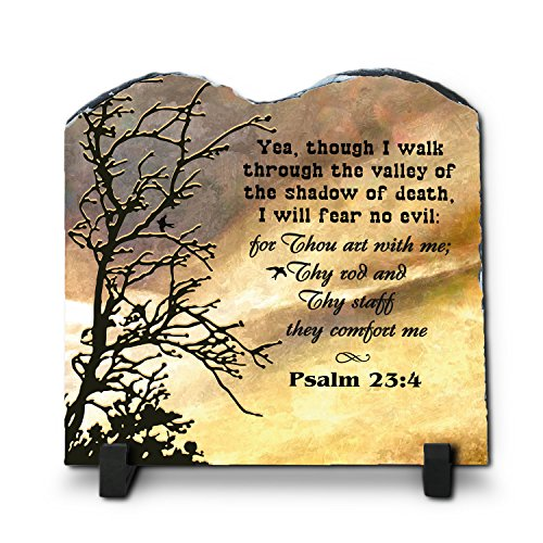 InspiraGifts Yea, Though I Walk Through The Valley of The Shadow ... Psalm 23:4 (7.8X7.8, KJV) | Superior Religious Inspirational Home Décor Slate | Christian Home Plaque Stone Gift