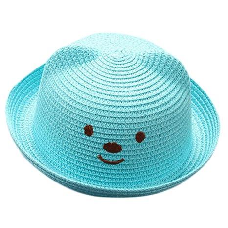 Gorra de paja transpirable para niños y niñas, diseño de dibujos animados de verano de