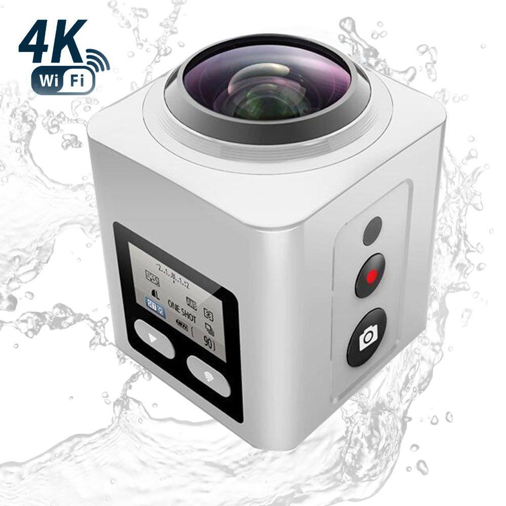 Zision 360°Panoramic VR Full View Action Camera Travel Fish Tank Aquarium Diving Camera (ZS-AC26-W)