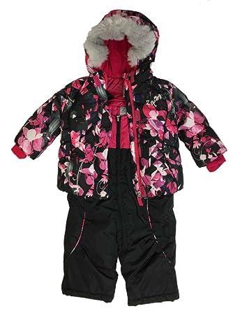 efd66240d Image Unavailable. Image not available for. Color: ZeroXposur Infant Girls  Black & Pink Floral Snow Bibs Fur Coat ...