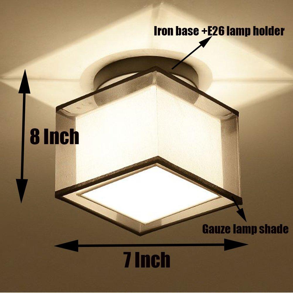 WOERFU Semi-Flush Mount Ceiling Lights, Black Paint Finish, Fabric Shade Pendant Light Fixture (Square Shade)