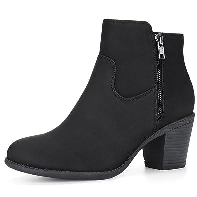e6f084c3 Allegra K Women's Low Chunky Heel Side Zipper Ankle Booties