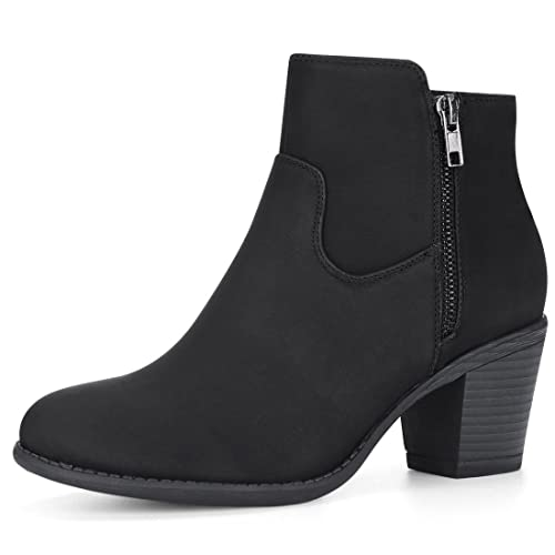b71bb5e2f4d Allegra K Women's Low Chunky Heel Side Zipper Ankle Booties