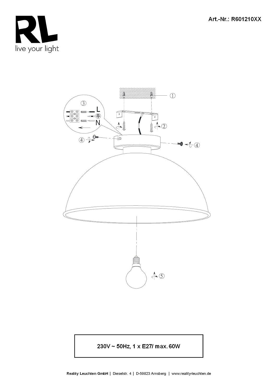 reality leuchten deckenleuchte 1 x e27 ohne leuchtmittel durchmesser 31 cm au en schwarz. Black Bedroom Furniture Sets. Home Design Ideas
