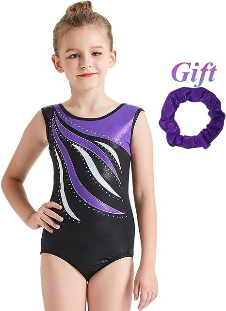 Kids Girls Sports Ballet Dance Shiny Crop Top Gymnastics Leotard Swim Dancewear