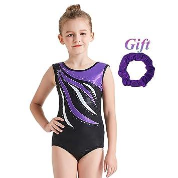 Hougood Justaucorp Gymnastique Fille Ballet Danse Body Rayures Diamant  Ballot Léotard Sans manches Costumes de Danse a71d004d86f