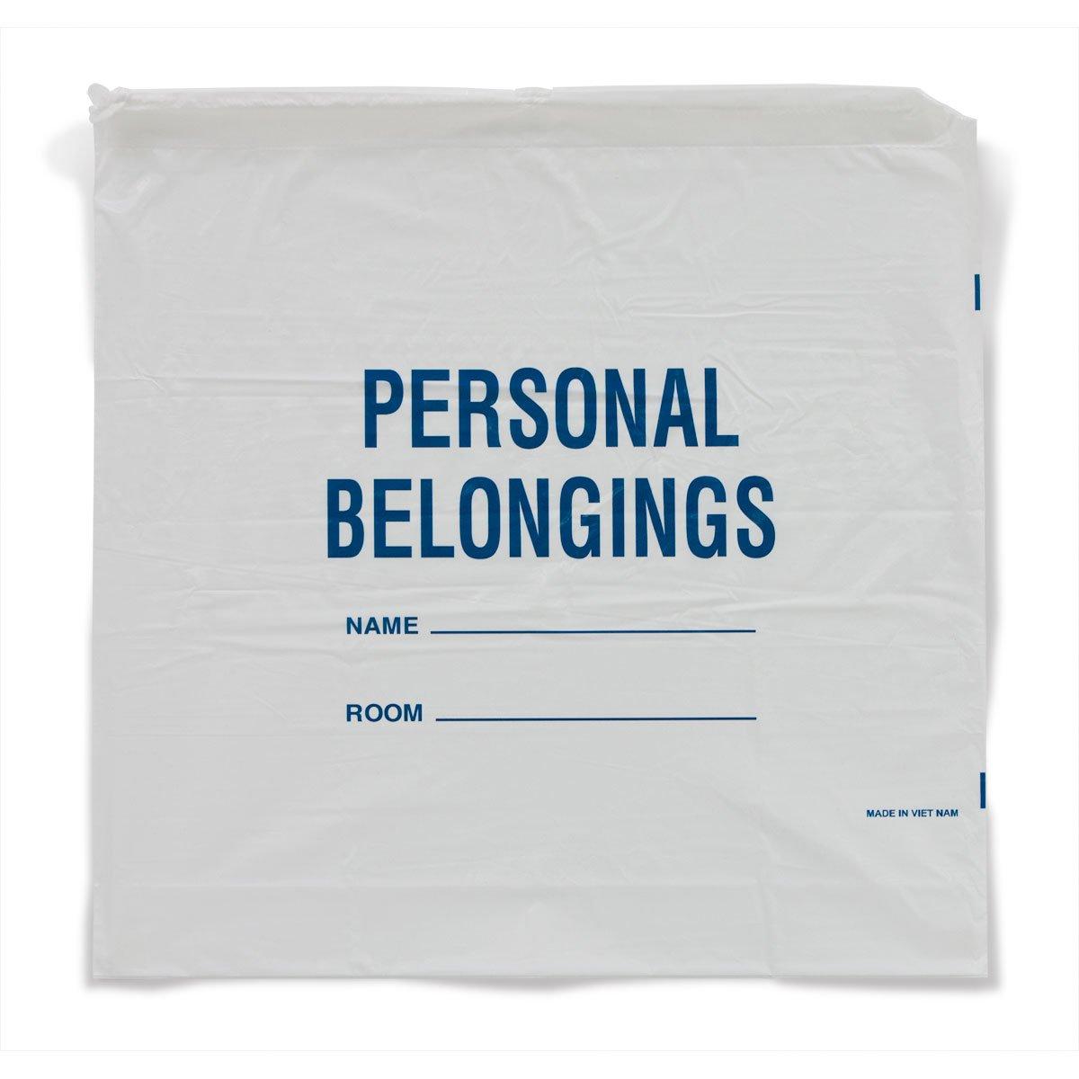 Patient Personal Belongings Bags Drawstring White