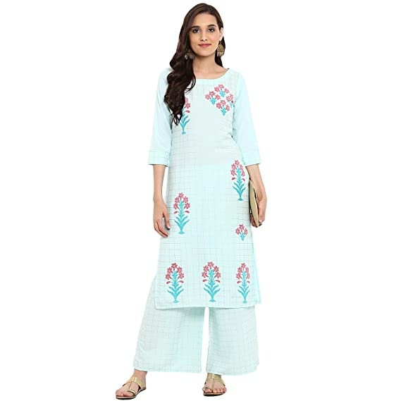 8c10e0f478a Ziyaa women s Summer Blue color Straight Foil Print Kurta Palazzo ...