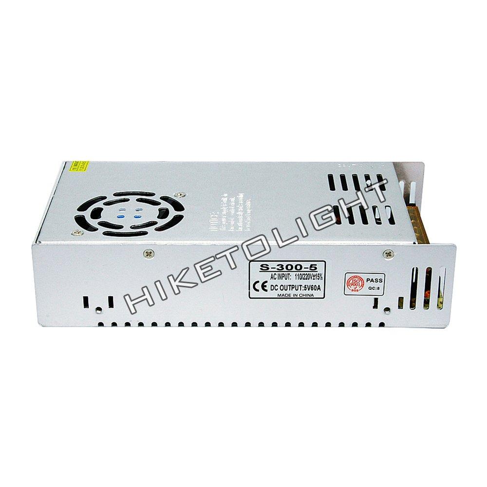 MOVINGTECH LED Power Supply DC Output 5V 60A 300W Aluminum Box Universal Regulated Switching Adaptor Transformer Driver AC Input 110/220V for 5V LED Strip Module CCTV