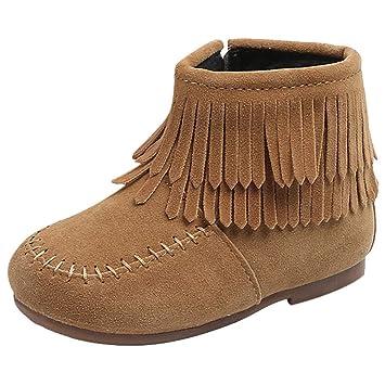 Botines de Flecos para Niñas,ZARLLE Botas para Niñas Niños Infantiles Boots Corto Boots Nieve Espesa Sneaker Botines Niñas Zapatos para niñas Calzado ...