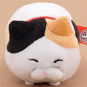 Peluche pequeño gracioso gato blanco negro pardo collar rojo Hige Manjyu Japón