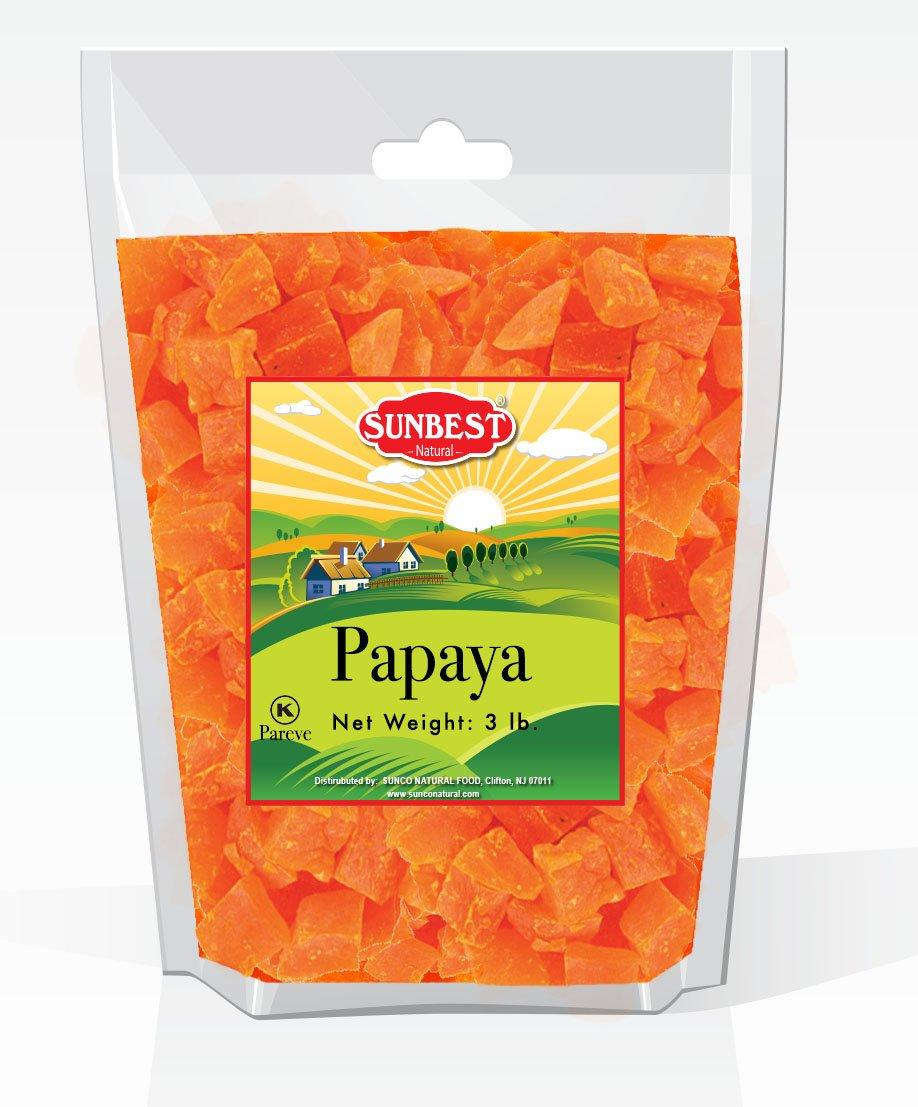 SUNBEST Dried Papaya Chunks in Resealable Bag (3 Lb)