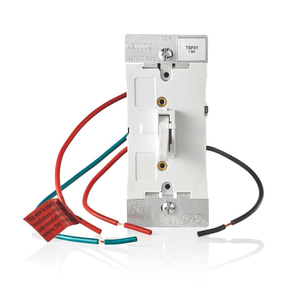 Leviton TSF01-10W Toggle Slide Fan Speed Control, 1.5 A-120VAC @ 60Hz, Single Pole or 3-way, White
