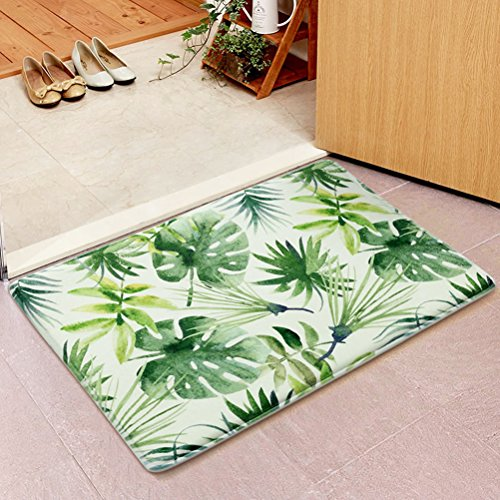 "WO-STAR Home Garden Non-Skid/Slip Rubber Back Kitchen Mat Bath Rug Entrance Mat Green Plant Succulents Leaf Machine Washable Indoor Outdoor Hallway Carpet 17.7""x47.2"""
