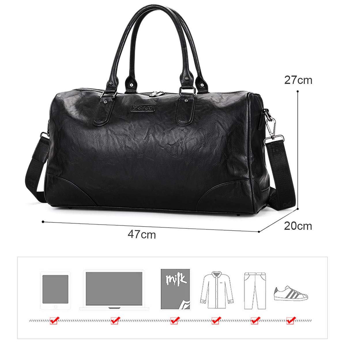 179deff61 Amazon.com | BAIGIO Men's Vintage Duffel Weekend Bag Oversize Travel Tote  Faux Leather Overnight Duffle (Black) | Travel Duffels