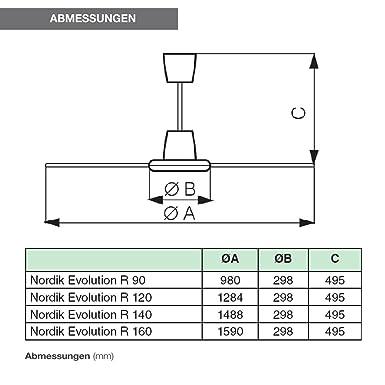 Vortice Deckenventilator Nordik Evolution 140 Kraftvoll und leise /Ø 142 cm Schwarz /… Sommer-//Winterschalter