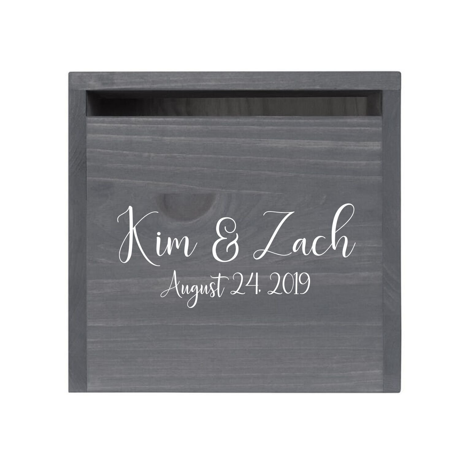"""LifeSong Milestones Personalized First Names Rustic Wooden Wedding Card Box Custom Card Holder with Front Slot for NewlyWeds Couples Reception 13.5"""" L x 12"""" W x 12.5"""" T (Grey)"""