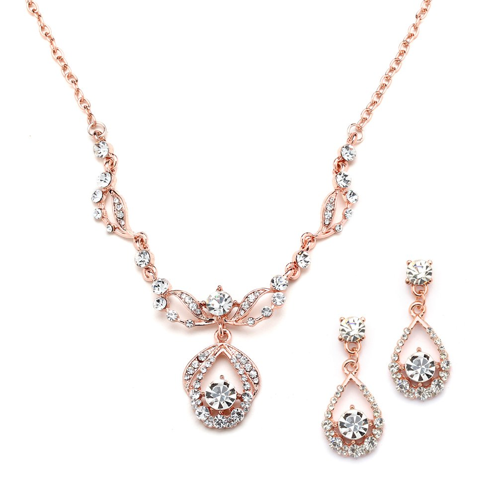 Mariell 14K Rose Gold Vintage Crystal Necklace and Earrings Jewelry Set for Prom, Bridal and Bridesmaids by Mariell