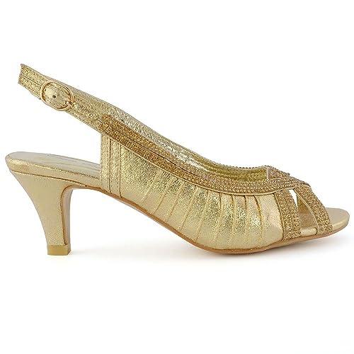 7cabd6823a1 ESSEX GLAM Womens Peep Toe Pumps Slingback Kitten Heel Shimmer Sandals