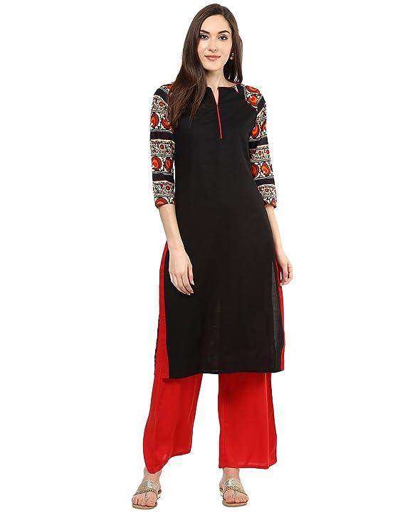 Jaipur Kurti Black Solid Kurta With Red Palazzo Set Women's Salwar Suits at amazon