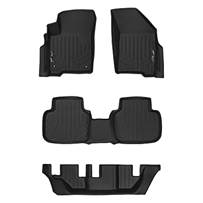 MAXLINER Floor Mats 3 Row Liner Set Black for 2012-2020 Dodge Journey with 1st Row Dual Floor Hooks: Automotive