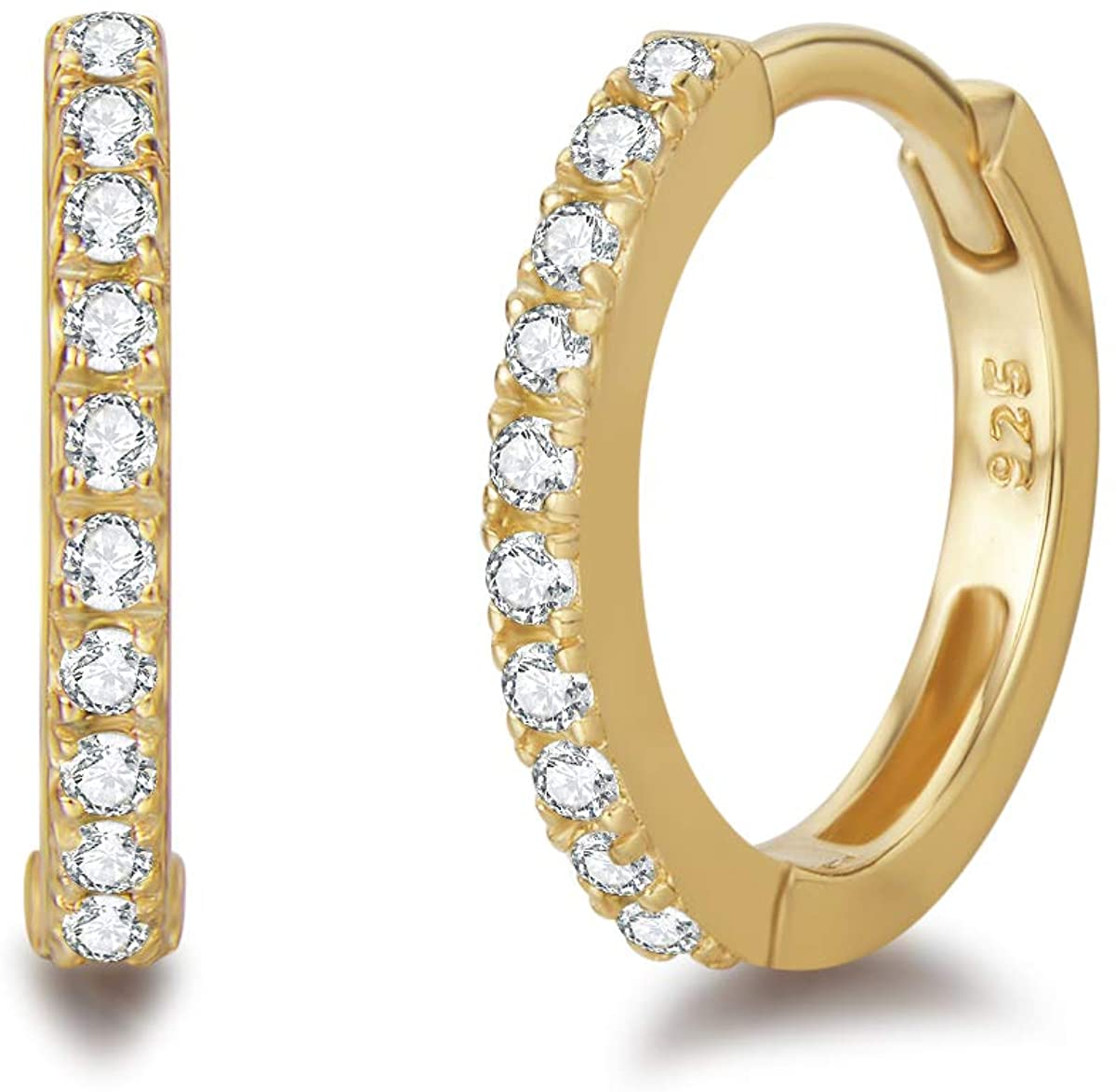 Pendientes De Aro para Mujer Plata de ley 925 Chapada en Oro con Circonia Cúbica círculo Aretes Pendientes Hoops - Diámetro: 11 mm