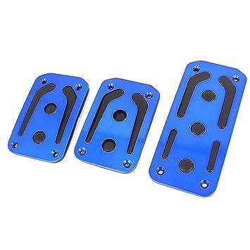 Sourcingmap 3Uds Pack Juego Almohadilla Pedal Embrague Freno Acelerador para Coche Vehículo Metal Azul Antideslizante: Amazon.es: Coche y moto