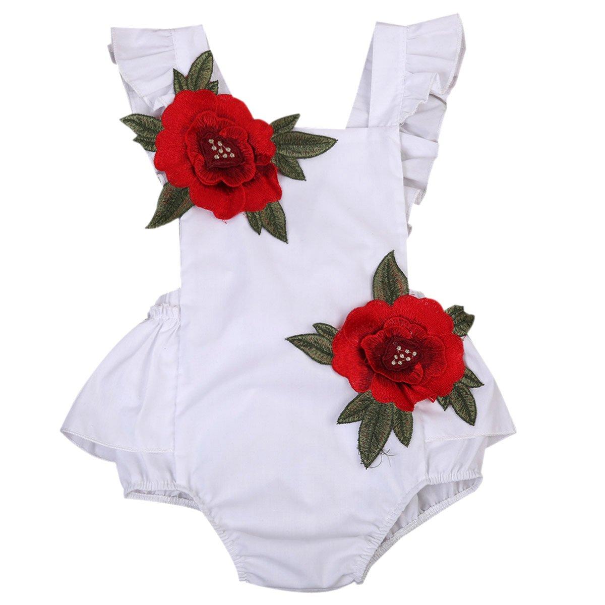 Baby Girls Jumpsuit Newborn Infant Kids Floral Clothes Summer Romper Bodysuit Sundress Outfits (12-18 Months, White)
