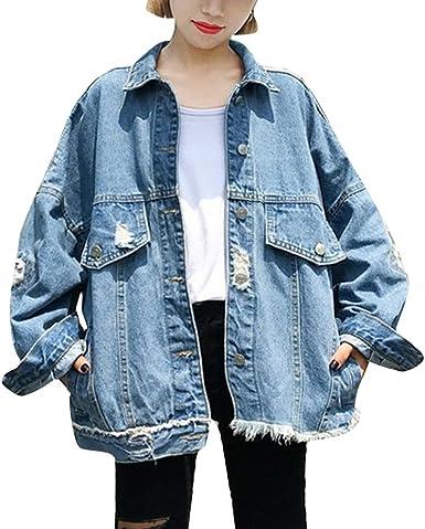 ZhuiKun Femmes Manteaux Veste Large en Jean Lâche Oversize Blouson Denim Jacket