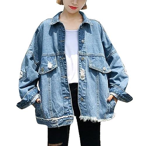 Chaquetas de Vaquera para Mujer, Oversized Denim Jacket Chaqueta de Mezclilla Abrigo