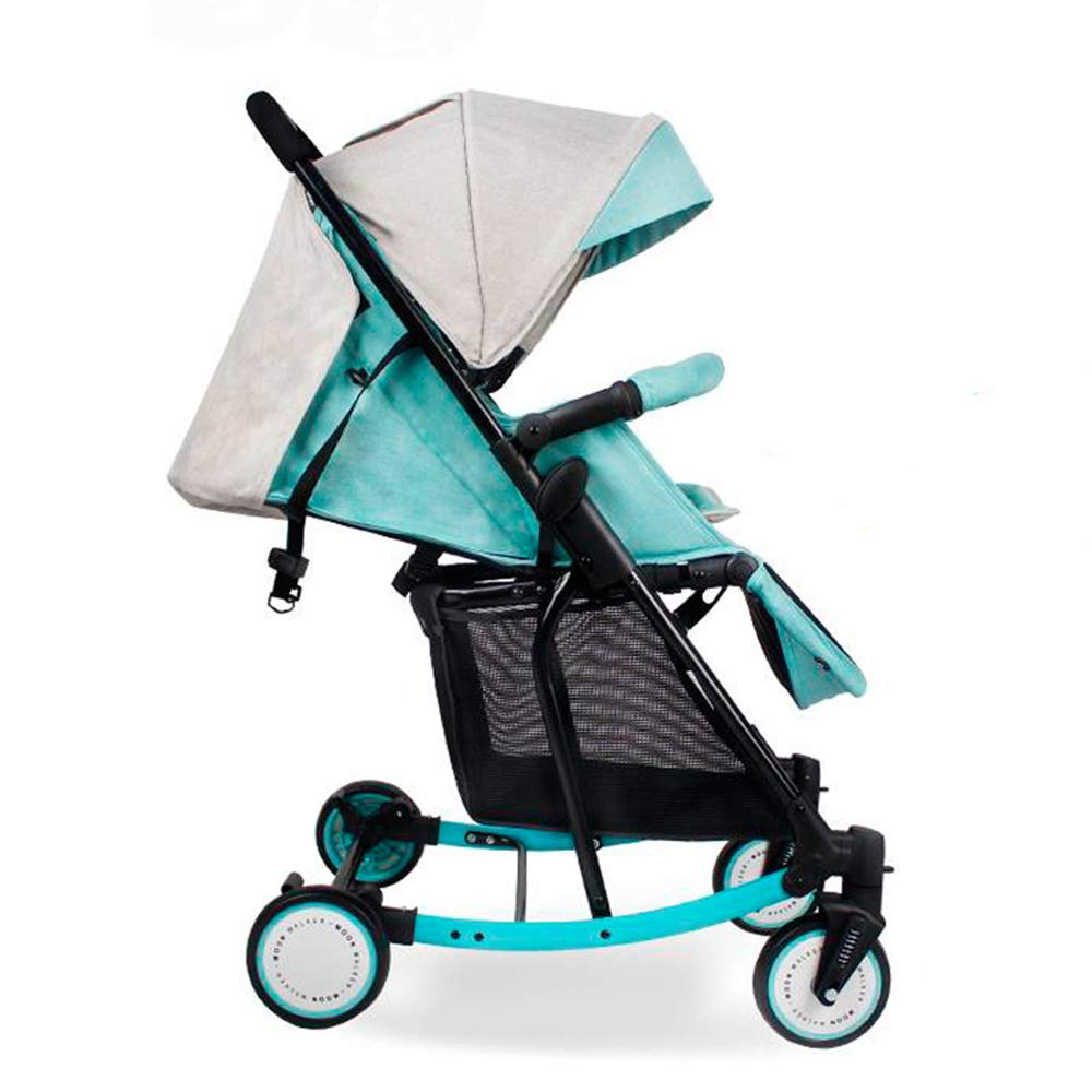 3 in 1 pram Five-Point Security Million Forward Wheel One-Click Folding Multifunction Strollers,Green,55cm72cm100cm